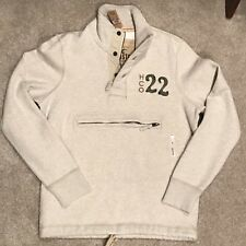 New with Tags Hollister Men's Sweatshirt Size Small Cream Zip Pocket Front