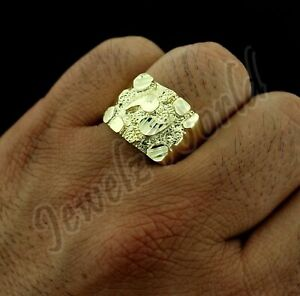 10K Solid Yellow Gold Men's Heavy Nugget Ring, Size 10.5 Diamond Cut, 10KT Gold