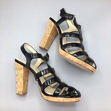 Martinez Valero Size 8 Black Patent Leather Cork Heels T-Straps Very Rare