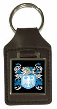 Fitchett Family Crest Surname Coat Of Arms Brown Leather Keyring Engraved
