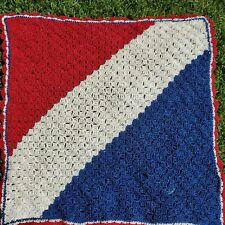 Vintage Handmade Crocheted Afghan Blanket Throw Prayer Blanket Red, White Blue