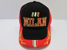 Milan Football Soccer Black/Red Baseball Cap Hat 100% Cotton