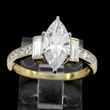 Estate 3.50 ct Marquise Cut VVS 14K Yellow Gold Solitaire Engagement Ring