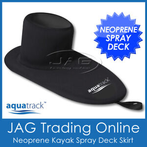 AQUATRACK DELUXE NEOPRENE KAYAK SPRAY DECK SKIRT- Waterproof Black Universal Fit