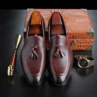 Men Tassel Casual Slip-On Loafers Leather Pointed Toe Shoes Dress Formal Oxfords