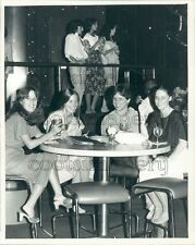 1979 Pretty 1970s Women Smoking Drinking at Uncle Sam Disco NY Press Photo