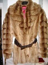 vintage women's faux fur coat jacket mink chinchilla sable like belt med small