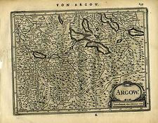 1651 Antique map northern Switzerland, Argow, lakes, Luzern. Mercator/Jansson
