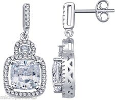 Great Design Dangle Earrings Sterling Silver 925 Pave Set Cubic Zirconia Stones