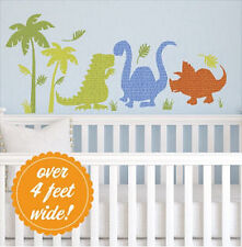 PATTERNED DINOSAURS wall stickers MURAL 17 big decals T-Rex Brontosaurus decor