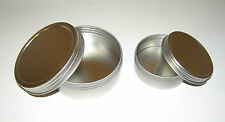 2-oz & 4-oz Round Shallow Metal Tin Can Containers & Screw-Top Lids - Craft Use