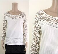 ex M&S Top - Lace Yoke & Sleeve Embroidered Crochet Trim Ivory Blouse Top
