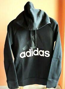 Adidas Felpa con Cappuccio Nera Donna Logo Rosa Taglia L Sport Tasche Come Nuova
