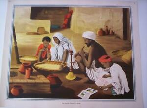 Vintage Colour Print An Indian Peasant's Home Lithograph Poster 1950s 102