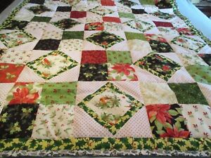 Quilt Handmade Christmas Holiday Birds Green Red  Black Patchwork  NEW 45x63