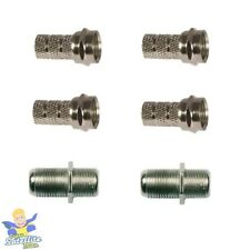 CABLE REPAIR KIT FOR SKY+ HD TWIN COAX CABLE 4 F CONNECTOR 2 JOINING BARRELS