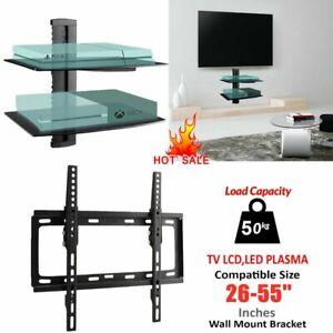 """26""""-65"""" Tilt TV Wall Bracket Mount with 2 Tiers Glass Shelf DVD Player Sky Xbox"""