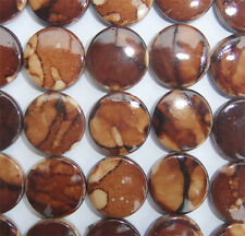 20 x Brown Patterned Acrylic Disc Shaped Beads - 16mm