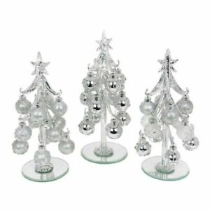 Medium Silver Glass Christmas Trees with Silver Decorated Baubles Set of 3
