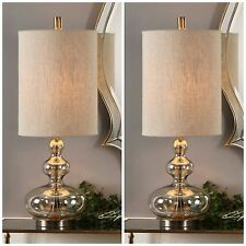 """TWO FORMOSO 32"""" LIGHT AMBER GLASS TABLE LAMPS AGED BRASS METAL UTTERMOST"""
