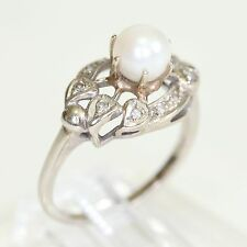 ANTIQUE 10K WHITE GOLD PEARL RING w CLAW SETTING  DIA ACCENTS, 4.8 g., size 8.5