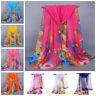 New Fashion Women Ladies Chiffon Floral Feather Scarf  Soft Wrap Long Shawl