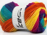 4 PELOTES DE LAINE ICE YARNS MAGIC GLITZ FUCHSIA VIOLET TURQUOISE ORANGE JAUNE