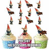PRECUT Garden Gnomes Gnome 12 Edible Cupcake Toppers Party Cake Decorations