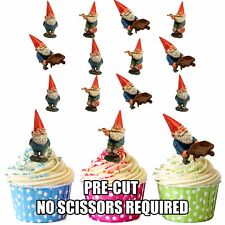 PRECUT Garden Gnomes Gnome 12 Edible Cupcake Toppers Party Cake Decorations