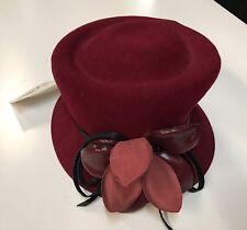 Gabriel Amar Frank Olive 100% Wool Burgundy Excello Hat NEW NWT Wool leather