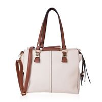 White and Brown Faux Leather Spacious Hobo Bag with Removable Shoulder Strap (48