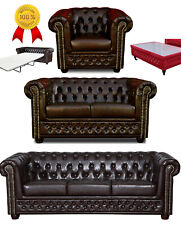 Chesterfield Sofa 3 2 Sitzer Sessel Hocker Tisch Bettsofa Antik Braun Kunstleder