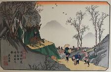Keisai Eisen Japanese 1790-1848 Woodblock print Distant View Magone Station
