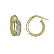 BEAUTIFUL 9 CT YELLOW GOLD FANCY MOONDUST CREOLE HOOP EARRINGS