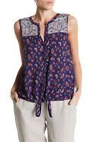 Lucky Brand Women's Paisley Print Sleeveless Tie Front Blouse Tank Top Blue Sz M