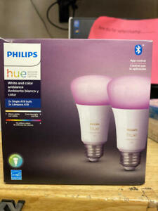 Philips Hue White and Color Ambiance 2-Pack A19 LED Smart Bulb, Bluetooth &