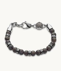 Diesel Men's Beaded Gray Labradorite Bracelet DX1164040