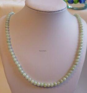 Certified  A grade green jade 6mm round beads length 54cm Jadeite necklace