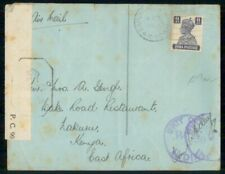 Mayfairstamps India 1940s Experimental Cancel to Kenya Censored WWII Cover wwf47