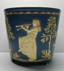 c1920's WELLER American Art Pottery Blue Ware Jardiniere - Maiden Playing Pipes