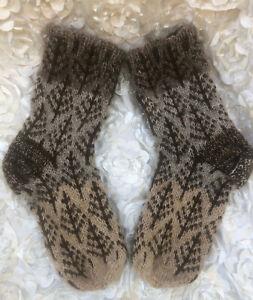 Sz UK 4-5 Women's mid-calf Socks 100% Icelandic wool Hand knit beige brown 36-38