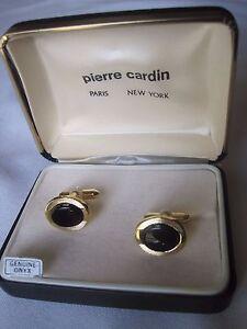 Pierre Cardin Oval Cufflinks, Gold-Tone w/ Onyx, New Old Stock