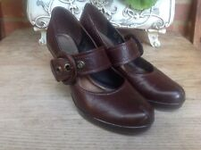 CLARKS BROWN REAL LEATHER ADJUSTABLE STRAP COURT SHOES SIZE UK 5.