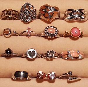 Lot of 15 Sterling Silver 925 Rings Band, Stack, Heart, Marcasite, Bradford
