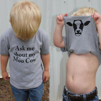 Ask Me About My Moo Cow T Shirt Funny Animal Flip Shirt Baby Kids Boys Cool Tee