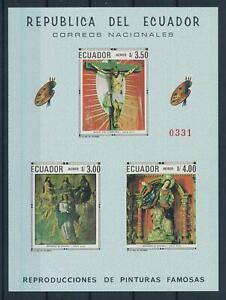 [105893] Ecuador 1968 Christian art paintings Imperf. Sheet MNH