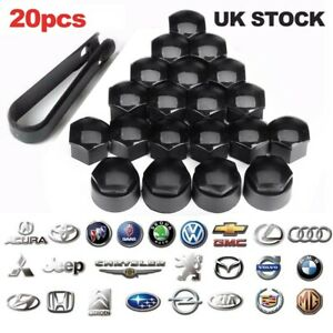 20 x 17mm Black Wheel Nut Caps Bolt Covers For Audi VW Vauxhall Bmw Mercedes NEW