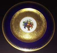 "10.75"" GORGEOUS COBALT BLUE BLACK KNIGHT SERVICE DINNER PLATE GOLD ENCRUSTED +5"