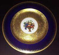 "10.75"" GORGEOUS COBALT BLUE BLACK KNIGHT SERVICE DINNER PLATE GOLD ENCRUSTED +5"