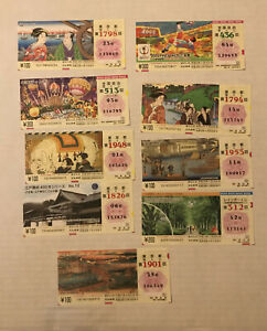 9 piece colorful Japan lot - old lottery tickets? [y6531]